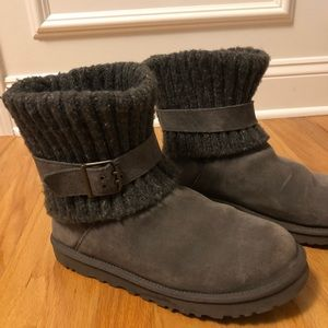 Ugg Women Grey Boots Sweater Ankle size 10